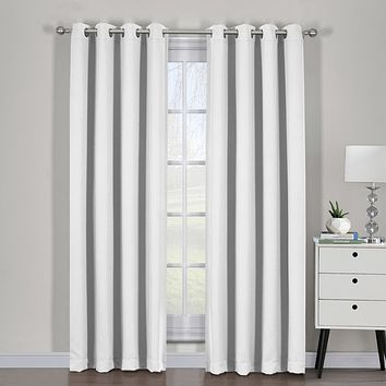 Greyish White 54x108 Ava Blackout Weave Curtain Panels With Tie Backs Pair (Set Of 2)