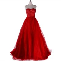 VILAVI Ball Gown Sweetheart Ruffles Sleeveless Floor-length Tulle Prom Dresses