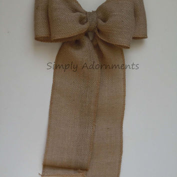 "11"" Natural Rustic Burlap Wedding Pew Bows Shabby Chic Vintage Burlap Wedding Bows Large Burlap Home Decoration Bows"
