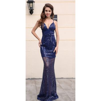 Navy Blue See Through Gown