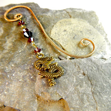 Unique Bookmark, Swarovski Crystals,Red and Black,  Beaded Bookmark, Copper Colored Aluminum, Hand made, Dragon Charm