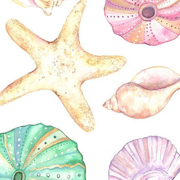 Seashells / watercolor print/ teal/light green/aqua/tan/sea/ocean life/ Archival Print