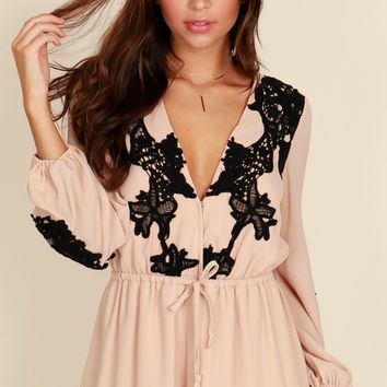 All About That Lace Romper Beige