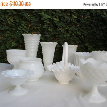 ON SALE Vintage Wedding Candy Buffet / Vintage Milk glass Collection / Milk glass Candy Buffet Compote Jars Lot of 10