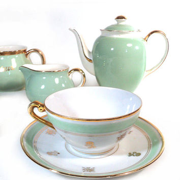 French Coffee Tea Set, Villeroy & Boch Meetlach France-Saar, Nous Deux Milk Jug, Pastel Gilt Green Teapot Demitasse Tea Cup, Creamer