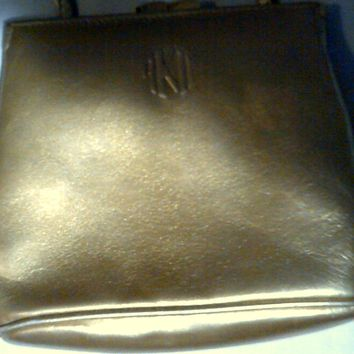 Anne Klein II For Oroton Metallic Gold Patent Leather Small Crossbody Bag (Authentic)