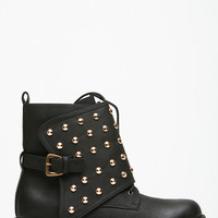 Black Faux Leather Studded Distressed Boots