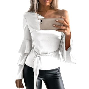 Sexy One Cold Shoulder Butterfly Sleeve Blouse Autumn Fashion Women Off Shoulder Long Sleeve Shirt