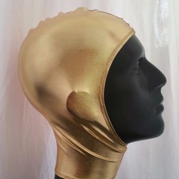 MADE TO ORDER Sci-fi Space Cadet Unisex Metallic Gold Spandex Stretch Hood with Velcro Front Closure One Size