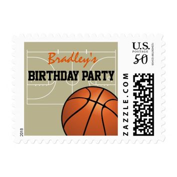 Childrens Basketball Themed Birthday Party Postage