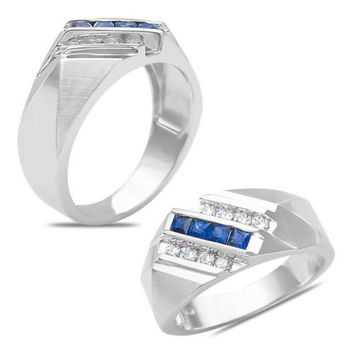 Men's 1/5CT Diamond with Sapphire Fashion Ring 10k White Gold
