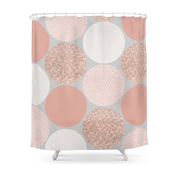 Society6 Rose Gold Dots Shower Curtains