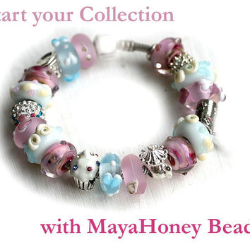 Pink Large hole beads, Glass European charms, Seaglass look, Handmade lampwork, Charm bracelet beads, SRA, by MayaHoney