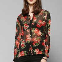Reverse Red Roses Chiffon Button-Down Blouse - Urban Outfitters