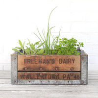 vintage wood and metal dairy crate
