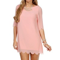 D. Pink 3/4 Scalloped Sleeve Tunic