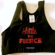 Little but Fierce Black/Red Cotton Sports Bra Cheerleading, Yoga, Running, Working Out