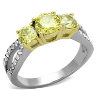 Past Present Future Yellow CZ Gold & Silver Stainless Steel Engagement Ring