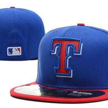 ESB8KY Texas Rangers New Era 59FIFTY MLB Hat Blue-Red
