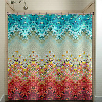 turquoise and black shower curtain. beautiful fire and ice gray turquoise chevron shower curtain bathroom decor  fabric kids bath window curtains Red Gold Black Golden Asian Batik from tablishedworks on