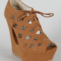 Bamboo Reveal-06 Cut Out Lace Up Platform Wedge Bootie