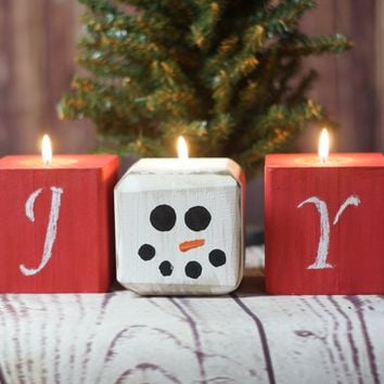 Joy Snowman Chalkboard Candles, Christmas Candles