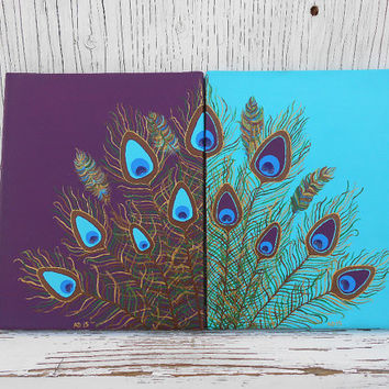 Hand Painted Feather Art, Original Peacock Feather Painting, Mul
