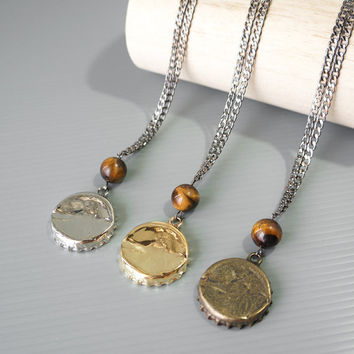 Bottle Cap Necklace, Tiger's Eye Gemstone, Bottle Cap Charm Jewelry, Unique Necklaces For Triplet Boys, Boys Birthday Gift, Boys Jewelry