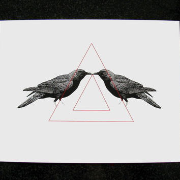 Triangle Illustration and Crows Mixed Media Art Print for Home Wall Decor