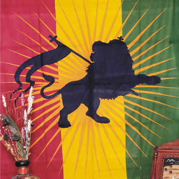 Jah Rasta Lion reggae, Hippy Hippy Wall Hanging, Indian Tapestry, Beach Blanket, Twin Bedspread, Etchnic Decor Art, Bohemian Bed Decor