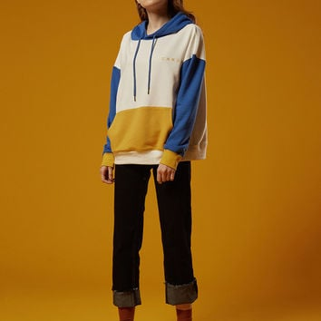 Wash Info Color Block Hoodie Sweatshirt