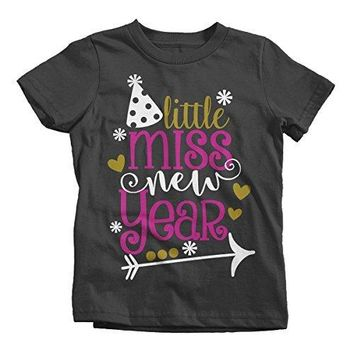 Shirts By Sarah Girl's Little Miss New Year T-Shirt Year's Party Hat Tee