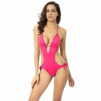 Deep V Solid Color Halter One Piece Swimsuit