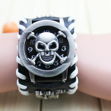Attractive Synthetic Leather and Stainless Steel Punk Style Chain Skull Band Unisex Bracelet Cuff Gothic Wrist Watch