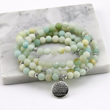 6mm Frosted Amazonite Bracelet Prayer Beads Tree Life bracelet 108 Amazonite Mala Beads Bracelet For Women ,Energy Bracelet