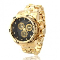 14K Gold Men's Stainless Steel Hip Hop Watch