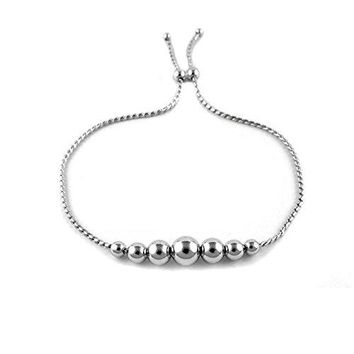 Ben and Jonah Fancy 925 Sterling Silver Graduated Bead Adjustable Bracelet 9 inch  L
