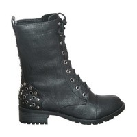 WOMEN'S MID CALF LACE UP COMBAT BOOTS WITH METAL STUDS