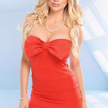 Strapless Orange Dress with Bow Cutout Top