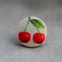 Ring cherry Cross stitch red ring Embroidered jewelry Unique cherry Ring handmade Red cherry gift for her Cherry jewelry Berry ring
