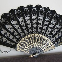 Lace wedding hand fan in BLACK Goth style accesory by kroowka