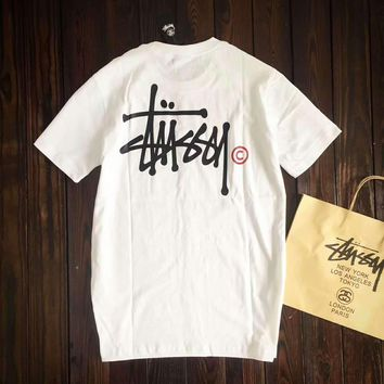 Stussy Women With Men Fashion Cartoon Print Casual Blouse Tee Top G-A-GHSY-1