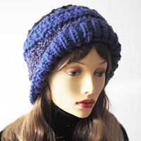 Purple cloche hat - Ready to ship - Fashion knit hat - Unisex OOAK beanie - Hat for large head - Amethyst chunky knit - Warm winter hat