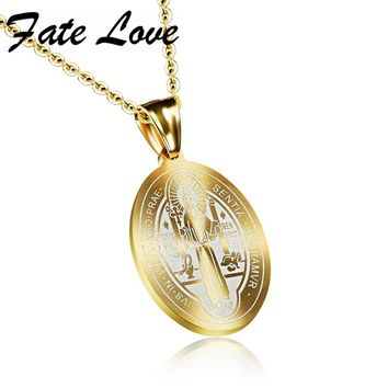 Fate Love Catholic Saints Saint Benedict Pendant Gold Color Stainless Steel Religious Catholic Pendant Necklace Jewelry FL1067