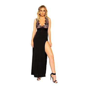 Roma 3798 - Maxi Length Eyelash Lace Dress with High Slit