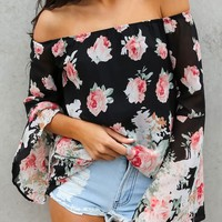 Floral Print Off Shoulder Long Sleeve Pagoda Sleeve Chiffon Shirt Women Tops