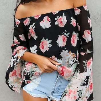 Floral Print Sexy Off Shoulder Long Sleeve Pagoda Sleeve Chiffon Shirt Women Tops