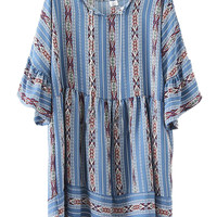 Blue Tribal Pattern Trumpet Sleeve Drawstring Waist Dress