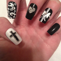 Black and White Acrylic Nails