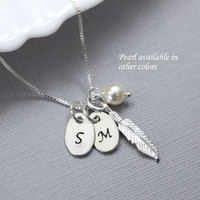 Personalized Sterling Silver Feather Necklace, Sterling Silver Feather Pendant and Swarovski Ivory Pearl on Sterling Silver Necklace Chain